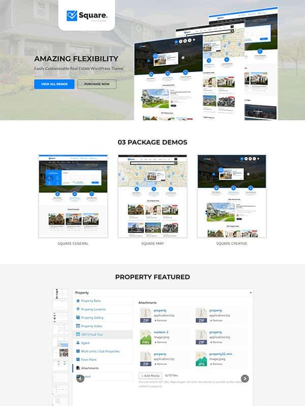 Square – Real Estate WordPress Theme